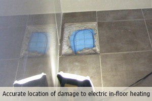 Accurate location of damage to electric in-floor heating